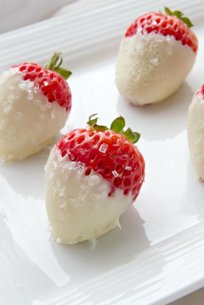 Valentine's Day Desserts-White Chocolate Dipped Strawberries - Just a Smidgen